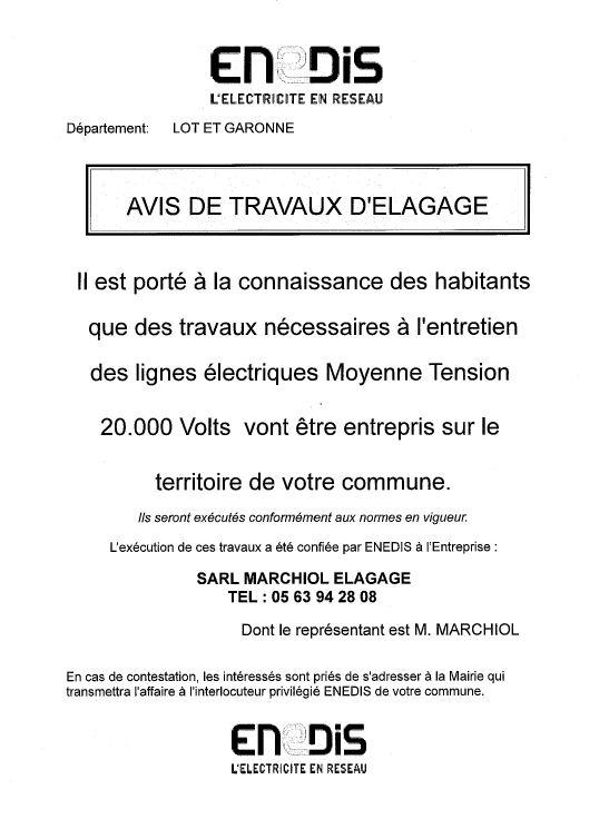 AVIS DE TRAVAUX D ELAGAGE